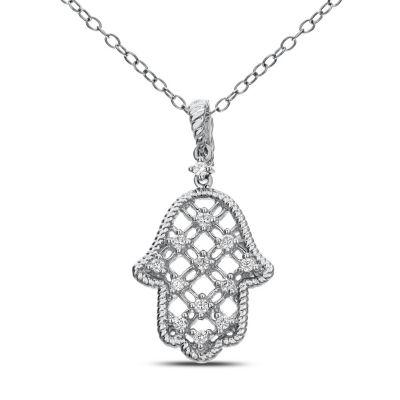 Womens 1/5 CT. T.W. White Diamond 14K White Gold Pendant Necklace