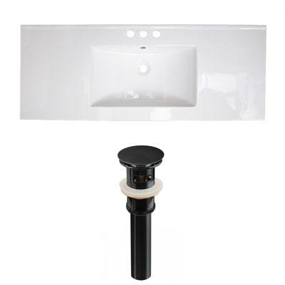 48.75-in. W 3H4-in. Ceramic Top Set In White Color- Overflow Drain Incl.