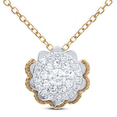 Womens 1/4 CT. T.W. White Diamond 14K Gold Flower Pendant Necklace