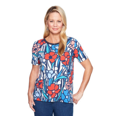 Alfred Dunner Out Of The Blue Short Sleeve Crew Neck Floral T-Shirt-Womens