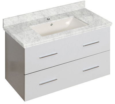 36-in. W Wall Mount White Vanity Set For 1 Hole Drilling Bianca Carara Top Biscuit UM Sink