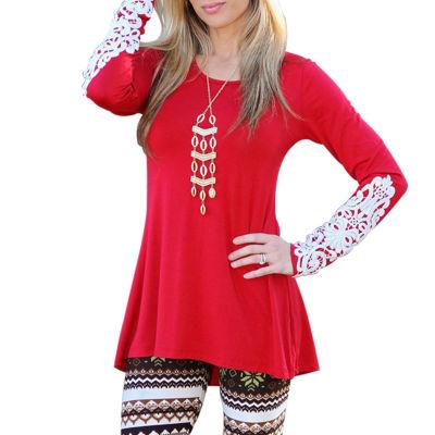 Mayah Kay Fashion Crochet Accent Tunic