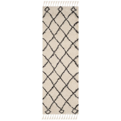 Safavieh Moroccan Fringe Shag Collection Atanas Geometric Runner Rug