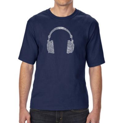 Los Angeles Pop Art Boy's Raglan Baseball Word Art T-shirt - HEADPHONES - LANGUAGES