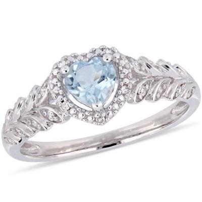 Womens Diamond Accent Genuine Blue Topaz 10K White Gold Heart Cocktail Ring
