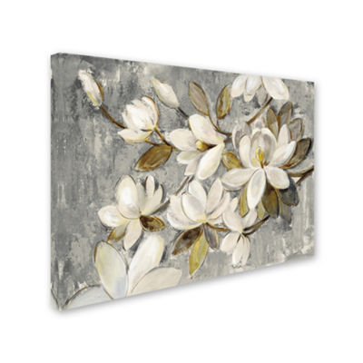 Trademark Fine Art Silvia Vassileva Magnolia Simplicity Neutral Gray Giclee Canvas Art