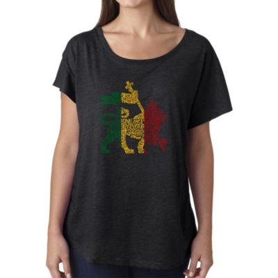 Los Angeles Pop Art Women's Loose Fit Dolman Cut Word Art Shirt - Rasta Lion - One Love
