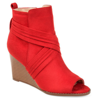 Journee Collection Womens Sabeena Booties Wedge Heel Zip