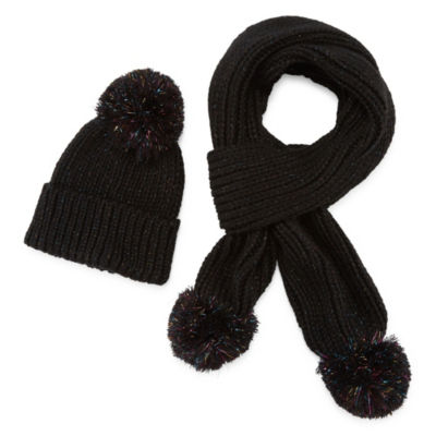 Mixit Shine Tinsel Pom Beanie And Scarf 2-pc. Cold Weather Set