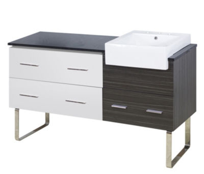 60.75-in. W Floor Mount White-Dawn Grey Vanity SetFor 3H8-in. Drilling Black Galaxy Top