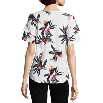 Liz Claiborne Short Sleeve Scoop Neck Floral T-Shirt-Womens
