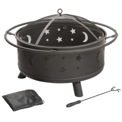 Pure Garden 30 in. Round Star and Moon Firepit