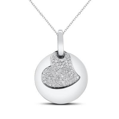 Womens 1/3 CT. T.W. White Diamond 14K White Gold Heart Pendant Necklace