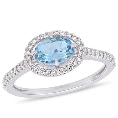 Womens 1/4 CT. T.W. Genuine Blue Aquamarine 10K White Gold Cocktail Ring