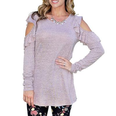 Mayah Kay Fashion Ruffled Open Shoulder Tunic