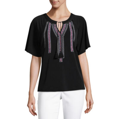 Liz Claiborne Short Sleeve Embroidered Knit Blouse