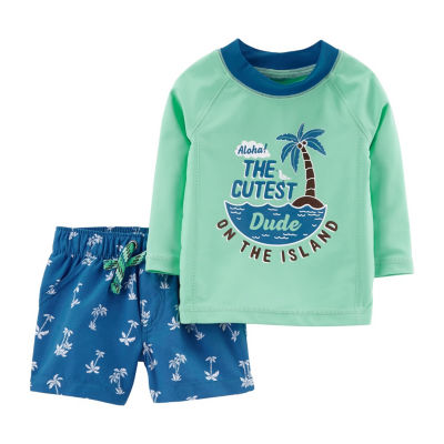 Carter's Long Sleeve Rashguard & Trunk 2 Piece Set - Baby Boy