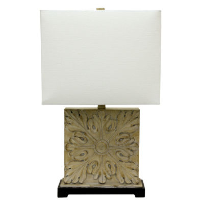 Decor Therapy Square Carved Table Lamp