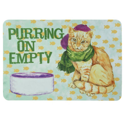 Bacova Guild Purring On Empty Personalized Rectangular Kitchen Mat