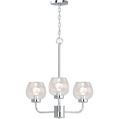 3-Light Polished Nickel Up-Light Chandelier