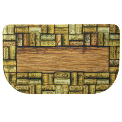 Bacova Guild Wine Corks Personalized Rectangular Anti-Fatigue Indoor Kitchen Mat