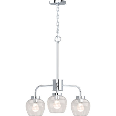 3-Light Polished Nickel Down-Light Chandelier