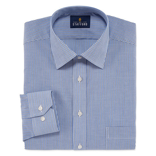 Stafford Travel Easy Care Stretch Long Sleeve Broadcloth Stripe Dress Shirt