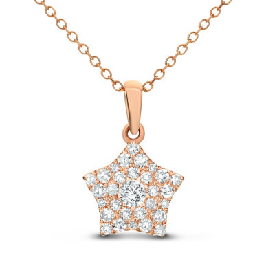 Womens 1/4 CT. T.W. White Diamond 14K Rose Gold Star Pendant Necklace