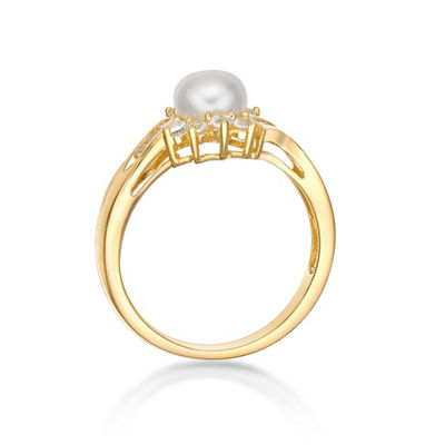 Womens Genuines White 14K Gold Over Silver Cocktail Ring
