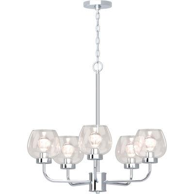 5-Light Polished Nickel Up-Light Chandelier
