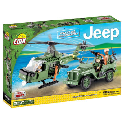 Cobi Small Army Jeep Willys Mb With Helicopter Construction Blocks Building Kit