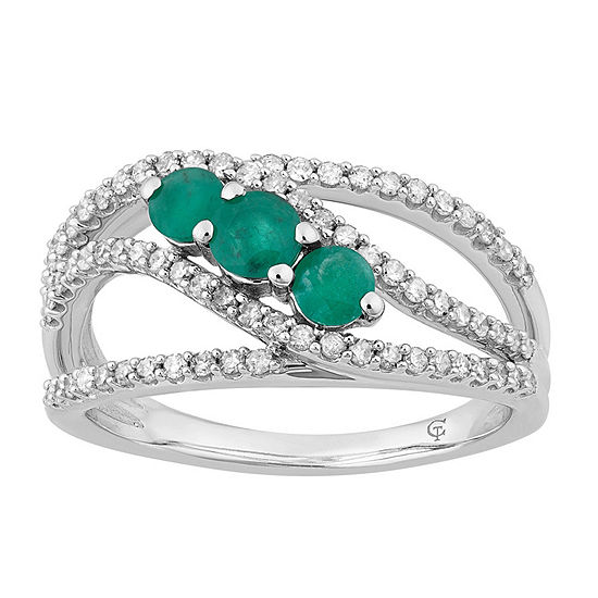 Womens 1/2 CT. T.W. Genuine Green Emerald 10K White Gold Cocktail Ring