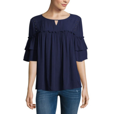 a.n.a Ana Ruffle Sleeve Studded Top Womens Crew Neck Short Sleeve Woven Embellished Bohemian Blouse