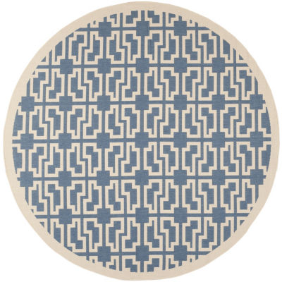 Safavieh Courtyard Collection Eddie Geometric Indoor/Outdoor Round Area Rug