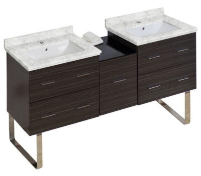60-in. W 17-in. D Modern Plywood-Melamine Vanity Base Set Only In Dawn Grey