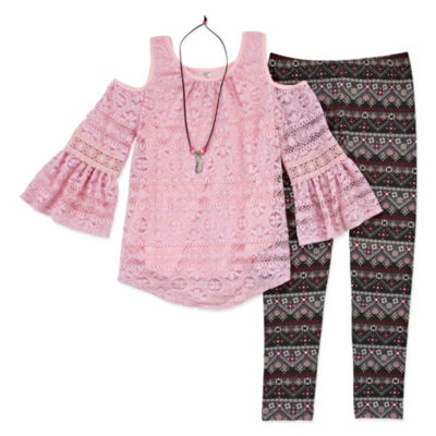 Knitworks Lace Cold Shoulder Top Legging Set with Necklace - Girls' 4-16 & Plus