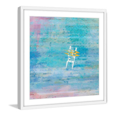 Orange Kayaks Framed Painting Print