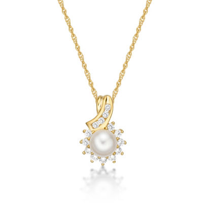 Womens Genuine White Cultured Freshwater Pearl 14K Gold Over Silver Pendant Necklace