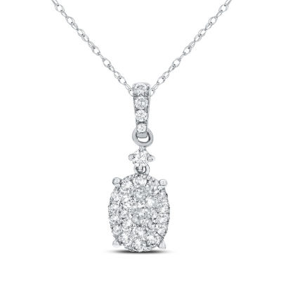 Womens 3/8 CT. T.W. White Diamond 14K Gold Pendant Necklace