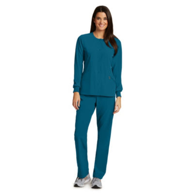 Barco One Womens Snap Front Scrub Jacket - Plus
