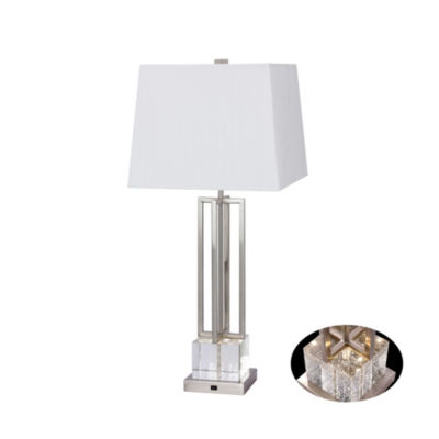 "Fangio Lighting's #1514PN 30"" Crystal & Brushed Steel Metal Table Lamp with LED Night Light"