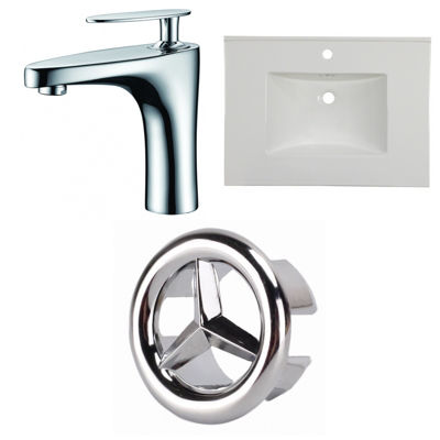 30.75-in. W 1 Hole Ceramic Top Set In White Color- CUPC Faucet Incl.