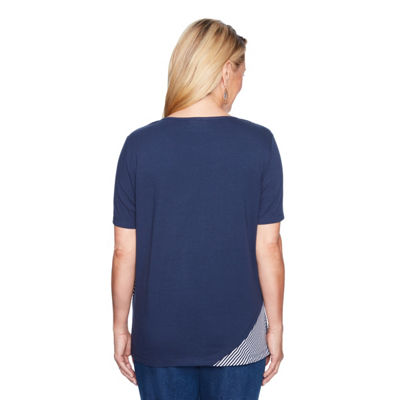 Alfred Dunner Out Of The Blue Short Sleeve Round Neck Embroidered T-Shirt-Womens