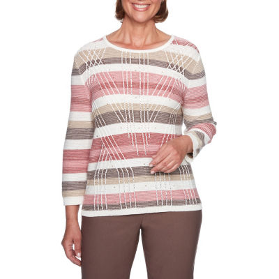 Alfred Dunner Sunset Canyon 3/4 Sleeve Boat Neck Stripe Pullover Sweater