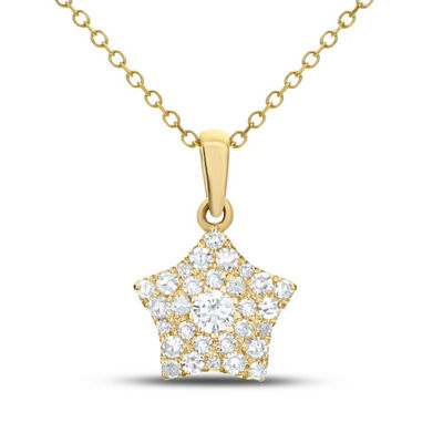 Womens 1/4 CT. T.W. White Diamond 14K Gold Star Pendant Necklace