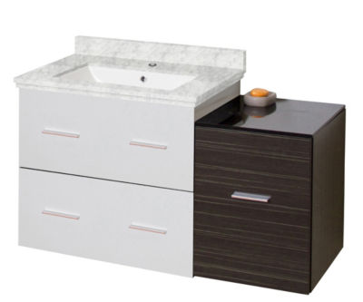 37.75-in. W Wall Mount White-Dawn Grey Vanity SetFor 1 Hole Drilling Bianca Carara Top White UM Sink