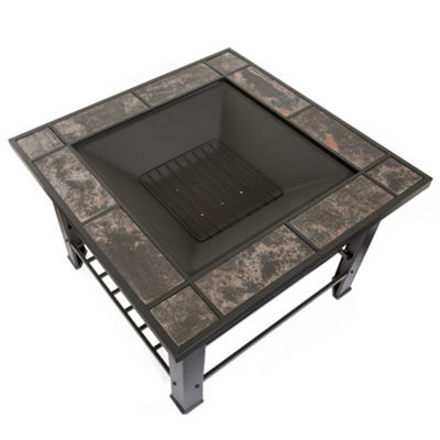 Pure Garden 30 in. Square Marble Tile Firepit