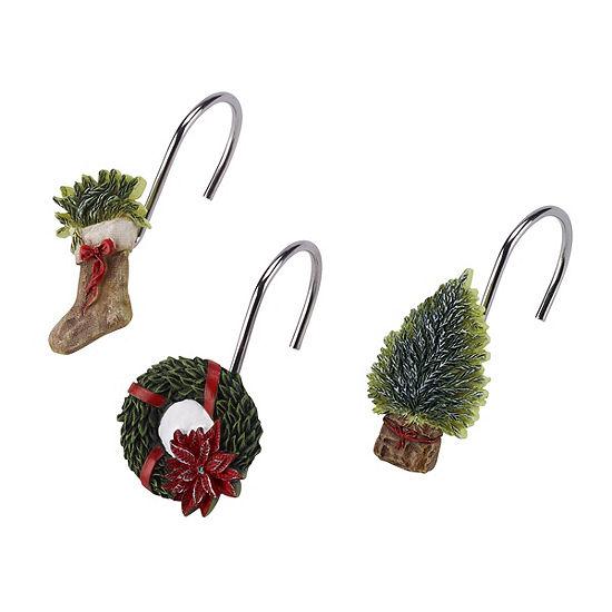 Avanti Farmhouse Holiday Shower Curtain Hooks