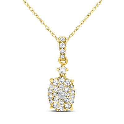Womens 3/8 CT. T.W. White Diamond 14K Gold Pendant Necklace