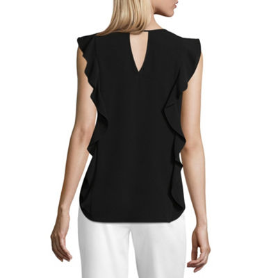 by&by Sleeveless Keyhole Neck Crepe Blouse-Juniors